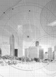 Skyline mit Lichtpausedetail Stockfotos