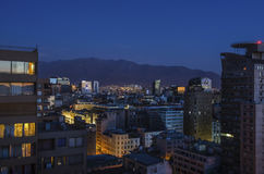 The skyline of Santiago de Chile by night. The skyline of modern buildings in Santiago de Chile by night Stock Photos