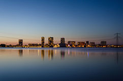 Skyline of the modern city center of Almere Stock Photo