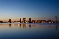 Skyline of the modern city center of Almere. Flevoland, The Netherlands. Twilight time stock photo