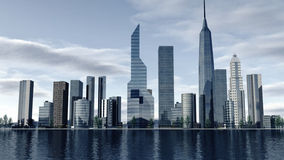 Skyline of a modern city. An image of a skyline of a modern city. 3D rendered modern buildings, skyscrapers and office companies forming a cityscape. At the Stock Photos