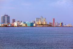 Skyline of modern Havana and Caribbean sea, Cuba. Skyline of modern Havana, Cuba Stock Images