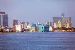 Skyline of modern Havana and Caribbean sea, Cuba. Skyline of modern Havana and Caribbean sea Royalty Free Stock Image