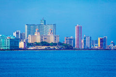 Skyline of modern Havana and Caribbean sea, Cuba. Skyline of modern Havana and Caribbean sea royalty free stock photography