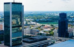 Skyline with modern skyscrapers in Warsaw city center. In Poland royalty free stock photos