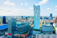 Skyline of modern skyscrapers at Warsaw city center. In Poland stock photography