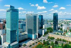 Skyline with modern skyscrapers at Warsaw city center. In Poland stock photography