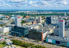 Skyline of modern skyscrapers in Warsaw city center. In Poland royalty free stock photos