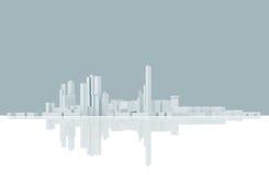 Skyline moderna abstrata da arquitetura da cidade Azul tonificado ilustração do vetor