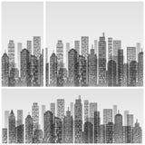 Skyline moderna da cidade no branco ilustração royalty free
