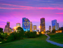 Skyline moderna de Houston Texas no crepúsculo do por do sol do parque Fotografia de Stock Royalty Free