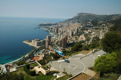 Skyline of Monaco. Helicopter waiting for passengers in front of the skyline of Monaco stock photos