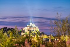 Skyline of Mont Saint Michel at night, France Stock Images