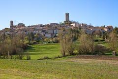 Skyline Montcuq Frankreich Stockbild