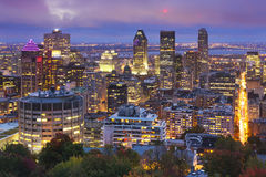 Skyline of Montréal, Canada from Mount Royal at night. The skyline of downtown Montréal, Quebec, Canada from the top of Mount Royal. Photographed at dusk royalty free stock image