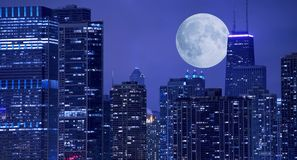 Skyline and Moon Royalty Free Stock Photography