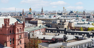 Skyline of Moscow city with Kremlin in spring Royalty Free Stock Photos