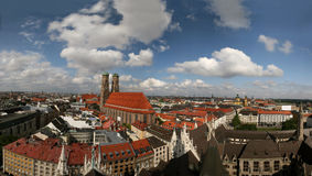 Skyline of Munich (Germany) and Frauenkirche. Skyline of Munich, capital of Bavaria in southern Germany and home of the famous Oktoberfest. 140° panoramic view stock images