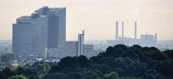 Skyline Munich. Munich - residential and office buildings with heating plant in the background Stock Photography