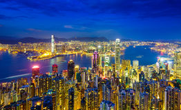 Skyline na noite, China de Hong Kong Imagem de Stock Royalty Free