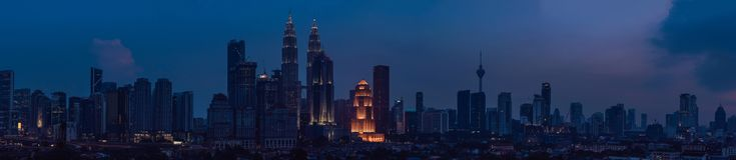 A skyline na noite, Malásia de Kuala Lumpur, Kuala Lumpur é capital de Malásia foto de stock royalty free