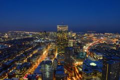 Skyline na noite, Massachusetts de Boston, EUA Imagem de Stock
