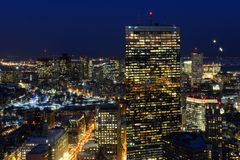 Skyline na noite, Massachusetts de Boston, EUA Fotos de Stock