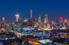 Skyline-Nachtansicht Pekings CBD Lizenzfreie Stockfotografie