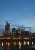 Skyline Nashville-, Tennessee nachts lizenzfreies stockbild