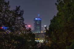 Skyline of New Belgrade Novi Beograd seen by night from the Kalemegdan fortress. NPicture of the district of Novi Beograd New Belgrade in the capital city of stock photography