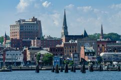 Skyline of New London, Connecticut Stock Images