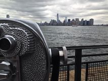 Skyline New York. Skyline of New York with binoculars Royalty Free Stock Photo