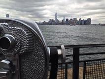 Skyline New York. Skyline of New York with binoculars royalty free stock photo