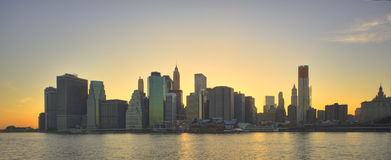 New York city skyline at sunset. Panoramic view of New York city skyline at sunset, U.S.A Royalty Free Stock Photography