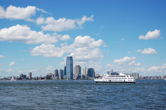 Skyline in new york city. With water taxi Stock Photo