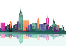 Skyline of New York city Stock Photos