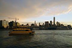 Boat Skyline New York Manhattan Hudson River Light. Skyline New York Manhattan Hudson River Light Stock Photo