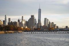 Skyline New York Manhattan Hudson River Light.  Royalty Free Stock Images