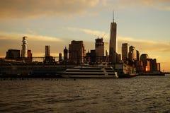 Skyline New York Manhattan Hudson River Light.  Stock Photos