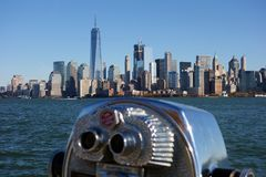 Skyline New York Manhattan Hudson River USA City Stock Image