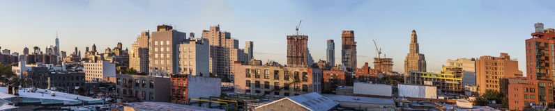Skyline of New York in sunset Royalty Free Stock Photos