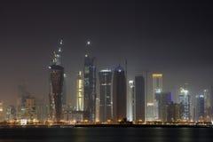 Skyline at night. View of doha bay in qatar at night Stock Photo