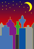 Skyline by night. A colorful nightscene - skyline by night Royalty Free Stock Photography