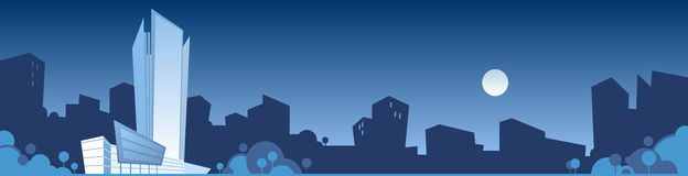 Skyline night. Vector illustration of a blue night scene with a city skyline Royalty Free Stock Photos