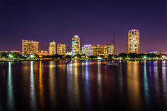 The skyline at night seen from Spa Beach Park, in Saint Petersbu Stock Images