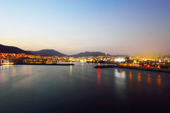 Skyline at night with Seo-gu district in Busan Royalty Free Stock Photography