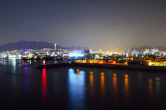 Skyline at night with Seo-gu district in Busan Stock Photo