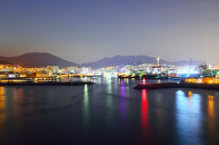 Skyline at night with Seo-gu district in Busan Stock Photos