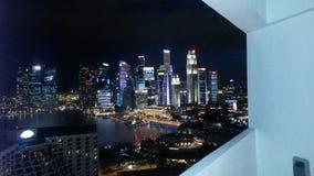 Skyline Night Singapur Stock Photo