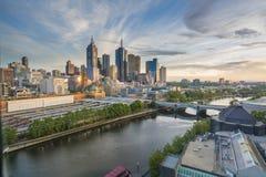Skyline no nascer do sol em Melbourne, Austrália Imagem de Stock Royalty Free